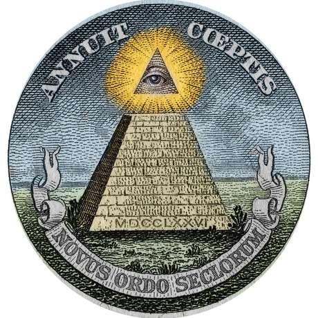 """Pirâmide e """"olho que tudo vê"""", símbolos usados no Grande Selo dos Estados Unidos (usado para autenticações) e impressos em papel-moeda no país."""