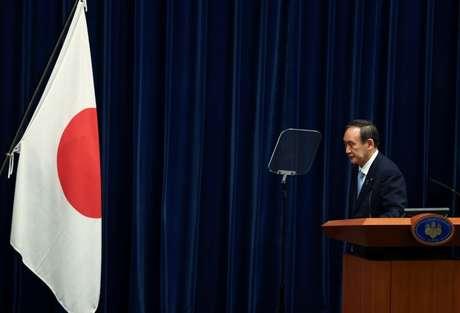 Primeiro-ministro do Japão, Yoshihide Suga, durante entrevista coletiva em Tóquio 28/05/2021 Behrouz Mehri/Pool via REUTERS