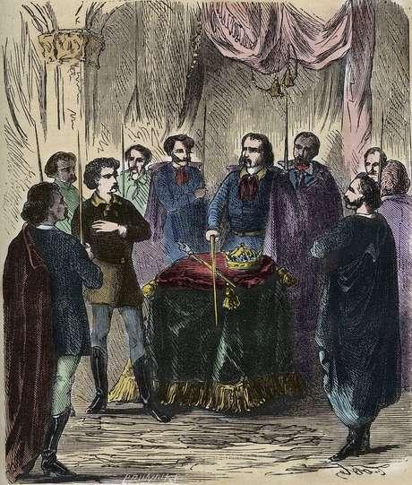 Representação do século 19 de um ritual de iniciação Illuminati. Na verdade, poucos detalhes sobre verdadeira natureza da cerimônia são conhecidos