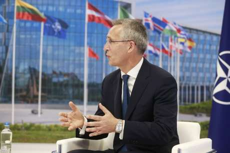 Secretário-geral da Otan, Jens Stoltenberg, durante reunião em Bruxelas 14/06/2021 Stephanie Lecocq/Pool via REUTERS