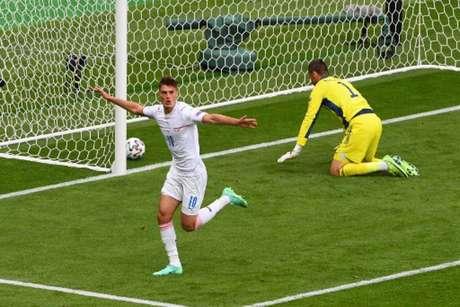 Schick é um dos destaques da 1ª rodada da Eurocopa (ANDY BUCHANAN / POOL / AFP)