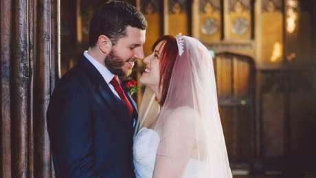 Thomas e Sophie no dia do seu casamento