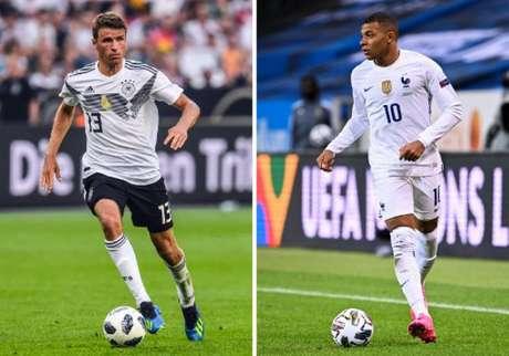 Müller e Mbappé são esperanças de gols de seus torcedores (Foto: JONATHAN NACKSTRAND, PATRIK STOLLARZ / AFP)