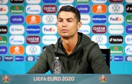 Cristiano Ronaldo durante entrevista da Euro 2020 na Puskas Arena, Budapeste 14/6/ 2021 UEFA/via REUTERS