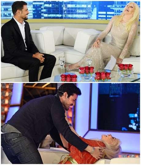 A rainha da TV argentina com Cauã Reymond e Sergio Marone: encantamento pelos atores do Brasil