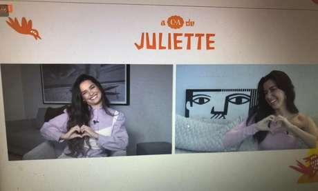Juliette e Camila Coutinho durante a coletiva