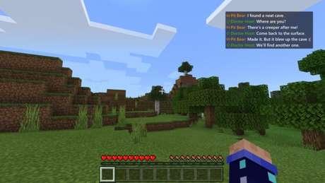 Exemplo de transcrição de voz no MInecraft de Xbox