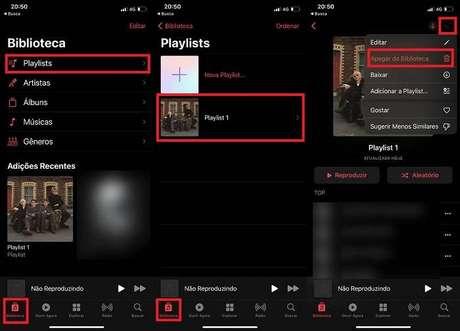Apagando uma playlist do Apple Music no iPhone