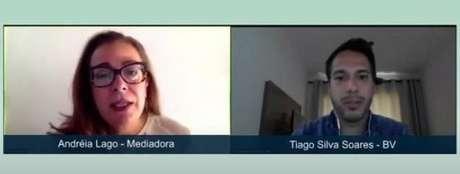 Adreia Lago e Tiago Soares no painel online do Summit ESG que discutiu governança nas empresas.