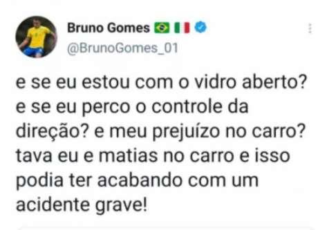 Postagem de Bruno Gomes no Twitter (Reprodução/Twitter)