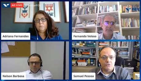 A jornalista Adriana Fernandes mediou o debate entre Fernando Veloso, Nelson Barbosa e Samuel Pessôa.