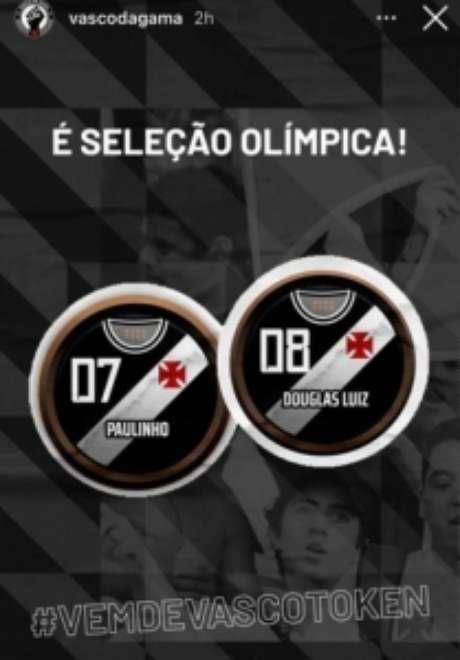 Vasco comemorou a convocação de Paulinho e Douglas Luiz (Reprodução: Instagram)