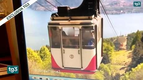 Vídeo da queda do teleférico foi divulgado pelo noticiário da emissora TG3