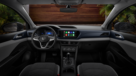 Interior do Volkswagen Taos Confortline.