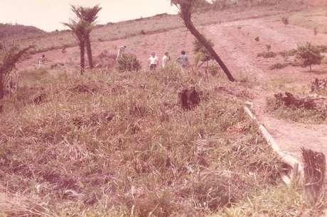 Imagem do sítio na década de 70, quando era tudo mato.