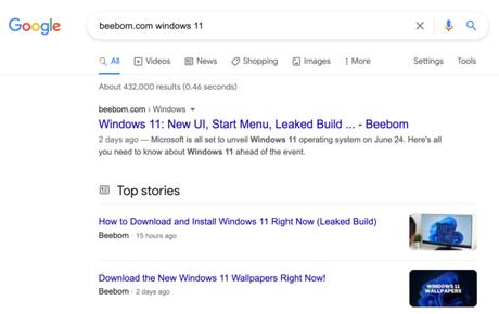 Busca do Google ainda mostrava links para download do Windows 11 vazado