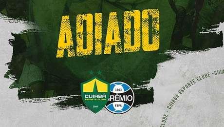 Gramado danificado no Dutrinha, em Cuiabá, adia partida entre Cuiabá e Grêmio