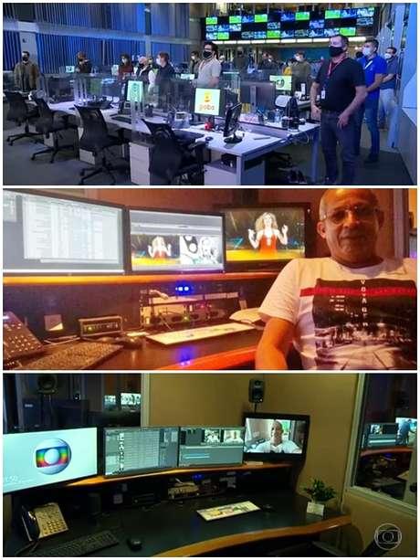 Acima, os colegas de pé por Toninho; abaixo, o editor em sua sala e o espaço vazio após a morte dele
