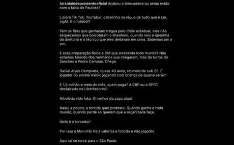 Torcida Independente protesta nas redes sociais (Foto: Reprodução/ Instagram)
