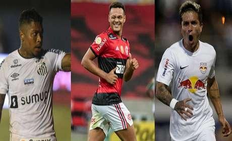 Marinho, Muniz e Artur no Top 3 (Divulgação/Santos Alexandre Vidal/Flamengo Ari Ferreira/Red Bull Bragantino)