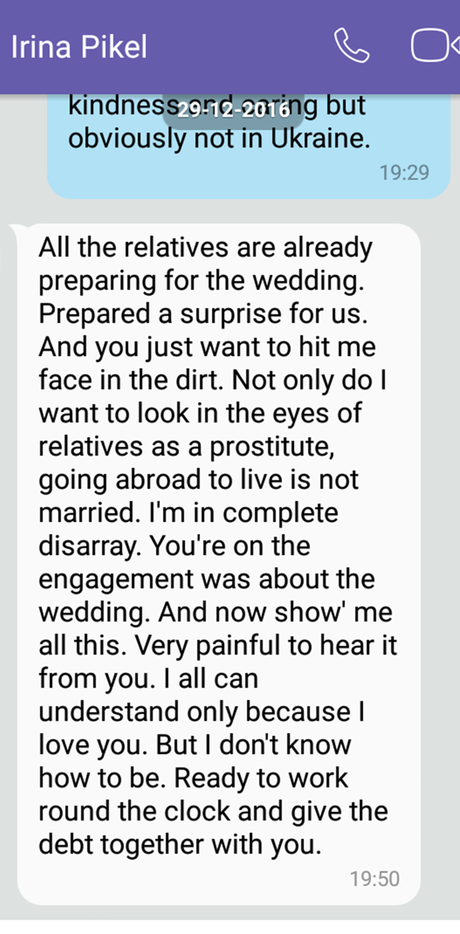 Irina message to James