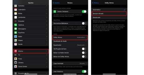 Com a opção Automática ativada, apenas aparelhos compatíveis podem reproduzir o Dolby Atmos