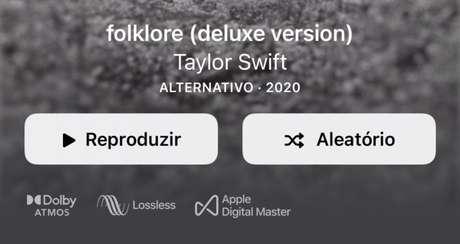 Álbum em Dolby Atmos no Apple Music