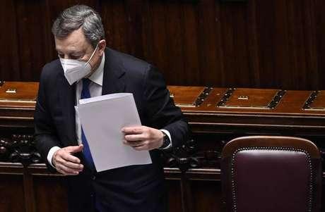 Mario Draghi durante pronunciamento na Câmara dos Deputados