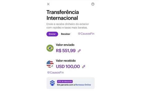 Nubank pode ganhar transferência internacional