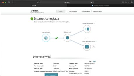 Interface web do D-Link Covr 1103 (Reprodução: Lucas Braga/Tecnoblog)