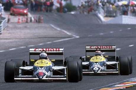 Nigel Mansell e Nelson Piquet: disputa equilibrada na Williams.
