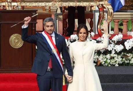O presidente do Paraguai, Mario Abdo Benítez, e a primeira-dama Silvana Abdo