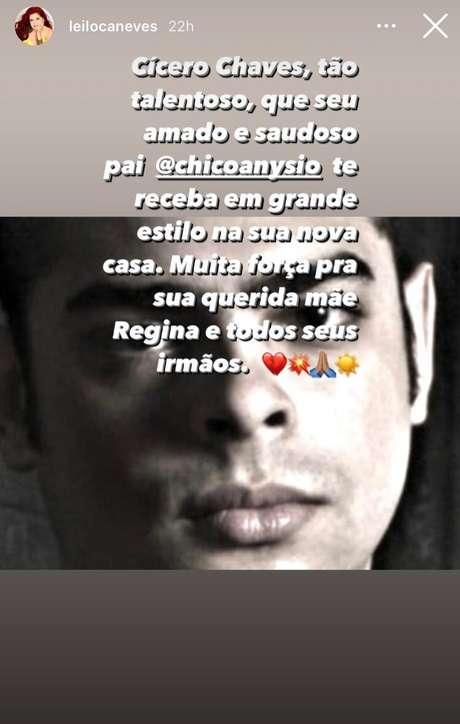 Leiloca Neves, parceira de Regina no grupo compartilhou um storiy em seu Instagram.