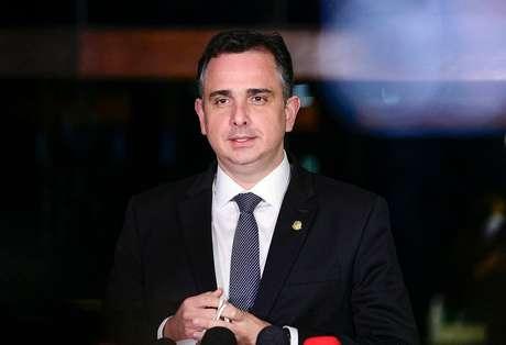 O presidente do Senado, Rodrigo Pacheco (DEM-MG), em entrevista coletiva
