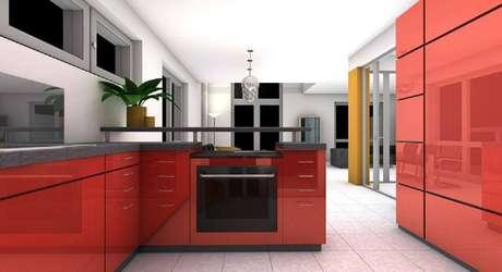2. Decoração moderna de cozinha de apartamento vermelha – Foto: Pixabay