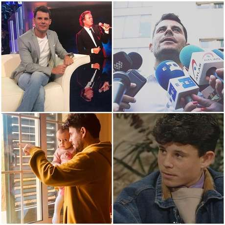 Acima, Javier num programa italiano e falandoarepórteres; abaixo, com a filha e aos 13 anos, na primeira vez que disse ser filho deJulioIglesias na TV