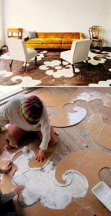 6. Piso pintado com moldura criativa – Foto Bohemian and Chic