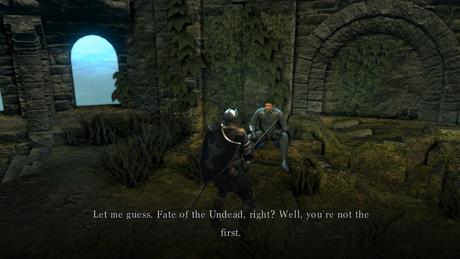 """Diálogo do Crestfallen Warrior em Dark Souls. Em tradução livre: """"Deixe-me adivinhar. O destino dos Mortos-vivos, certo? Bom, você não é o primeiro.""""."""