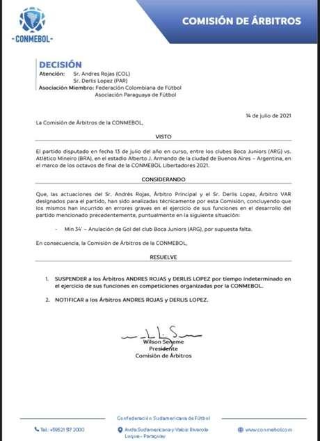 Comunicado da Conmebol desta quarta-feira reconhecendo erros de arbitragem Foto: Divulgação/ Twitter Conmebol