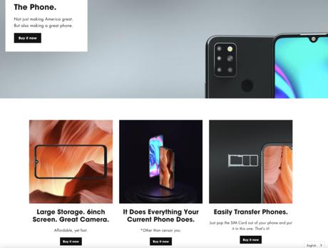 """Estes são 4 dos 10 botões """"Buy Now"""" no site do Freedom Phone"""