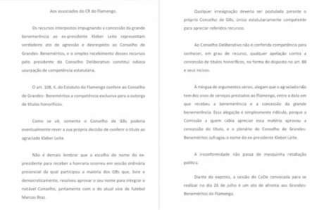 Manifesto divulgado por Grandes Beneméritos a favor de Kleber Leite (Foto: Reprodução)
