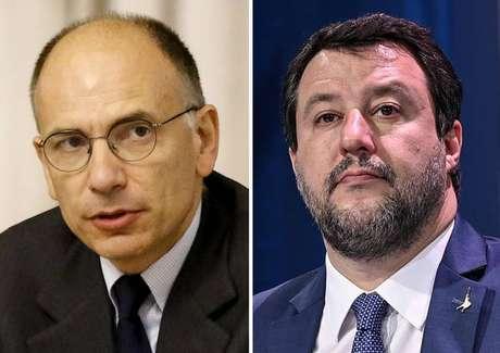 Enrico Letta e Matteo Salvini lideram dois dos três partidos com maiores bancadas no Parlamento da Itália