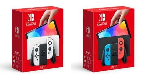 Caixas e cores dos novos Switch OLED