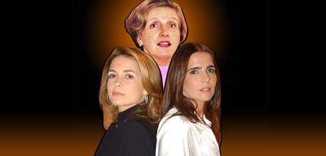 Leonor Bassères com as protagonistas Laura (Claudia Abreu) e Maria Clara (Malu Mader) de 'Celebridade', última novela escrita pela autora