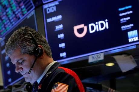 Chinesa Didi em estreia na Bolsa de Nova York. 30/6/2021.  REUTERS/Brendan McDermid