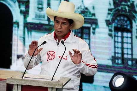 Pedro Castillo durante debate em Arequipa  30/5/2021   REUTERS/Sebastian Castaneda