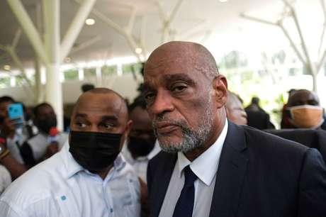 Ariel Henry em cerimônia fúnebre para presidente Jovenel Moise em Porto Príncipe  20/7/2021   REUTERS/Ricardo Arduengo