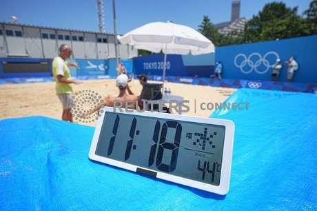 Termômetro marca temperatura de 44º Celsius às 11h18 em Tóquio