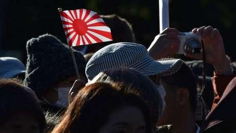 A bandeira do Sol Nascente não é oficial, mas seu uso é bastante difundido no país