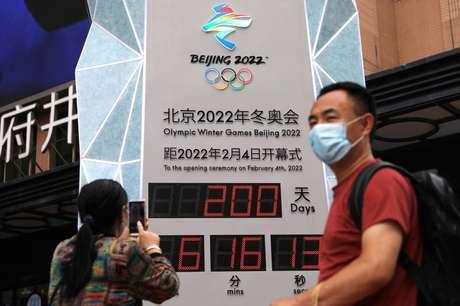 Relógio de contagem regressiva em Pequim marca 200 dias para o início da Olimpíada de Inverno Pequim 2022  19/07/2021 REUTERS/Tingshu Wang